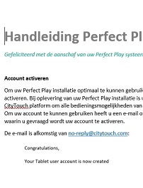 Perfect Play Handleiding